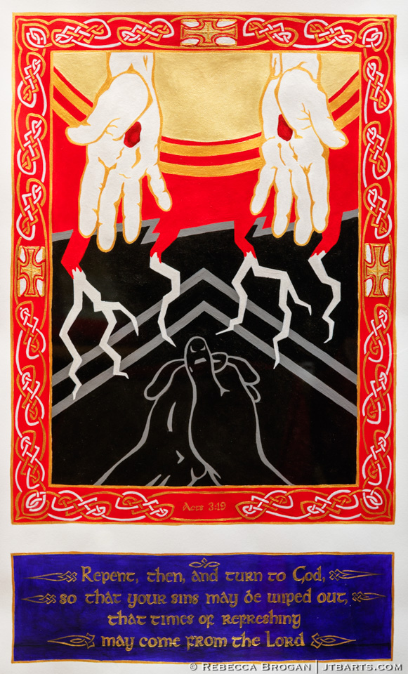 Acts 3:19 illustration of a person praying with Jesus' hands reaching down with the blood of Jesus.