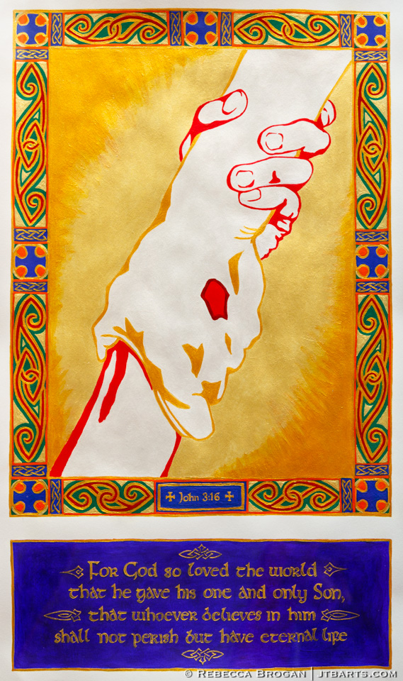 John 3:16 artwork illustration. A picture of Jesus grabbing a person's hand.